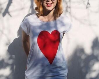 Woman T-shirt Red Love Heart Print White T shirt boyfriend T-shirt Silkscreen Valentine