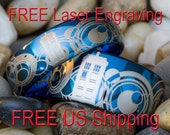 Tungsten Rings His and Hers 6mm & 10mm Ice Blue Dome Doctor Who Tardis Gallifreyan Design-Free Inside Engraving