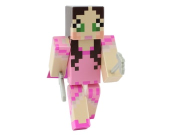 "Pink Dress Green Eyed Girl - 4"" Action Figure Toy, Plastic Craft by EnderToys"