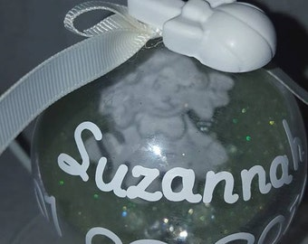 New Baby Girl Keepsake Personalised Bauble