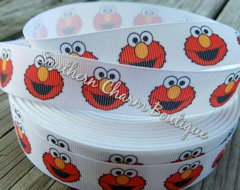 3 yards of 7/8 inch Elmo grosgrain ribbon