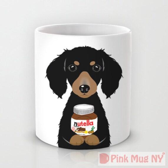 Long haired Dachshund and Nutella Mug
