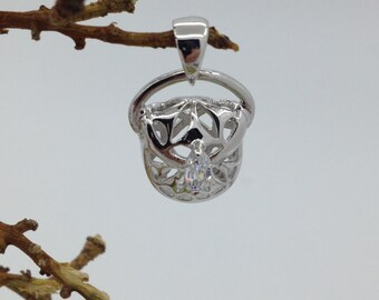 Purse Charm Sterling Silver CZ Charm or Pendant