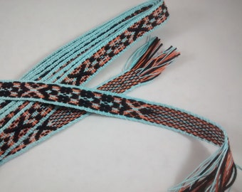 Inkle weaving ribbon, strap, band, or trim - Handwoven - SCA, LARP, Nordic, Baltic, Viking, and Cosplay - Turquoise, Orange, and Black