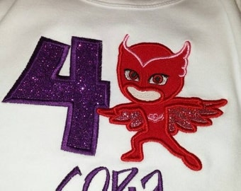 OWLETTE Birthday Shirt with Age and Name PJMASK