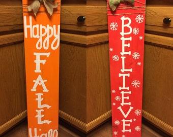 Happy Fall Ya'll, Joy, REVERSIBLE Fall/Christmas Sign, wood sign, fall sign decor, christmas decor, front porch decor