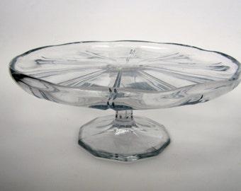 1930s art deco pressed glass cake stand