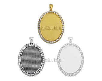 30x40mm Oval Rhinestones Claw Pendant Tray Blank Cameo Cabochon Base Setting fit 30x40mm Oval Cabochon 10 PCS M083
