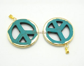 Blue Turquoise Howlite Peach Charm Pendant,Peace Symbol with 24k gold edging  C150211018