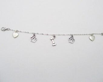 Dog Charm Bracelet, Puppy Charm Bracelet, Pet Parent Bracelet, Dog Bracelet, Dog Jewelry, I Love My Dog ,Dog Lovers Jewelry, Puppy Love