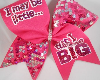 Cheer Bow I may be little but I tumble BIG hot pink silver sequin by blingitoncheerbowz