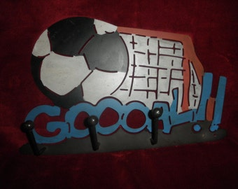Soccer Metal Sign for Wall with Hooks for Coats or Hats