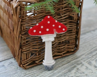 Amanita Mushroom Brooch, Needle Felted jewelry, Soft Sculpture, One of a kind, Wearable Art