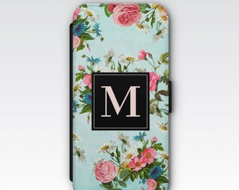 Wallet Case for iPhone 8 Plus, iPhone 8, iPhone 7 Plus, iPhone 7, iPhone 6, iPhone 6s, iPhone 5/5s - Blue Vintage Flowers Floral Monogram