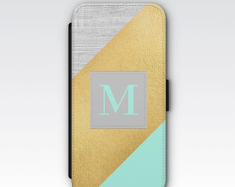 Wallet Case for iPhone 8 Plus, iPhone 8, iPhone 7 Plus, iPhone 7, iPhone 6, iPhone 6s, iPhone 5/5s - Blue, Grey & Gold Monogrammed Case