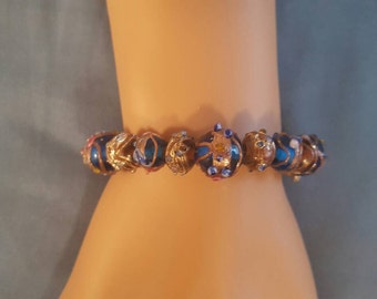Glass Beaded Bracelet w/ Silver Accents