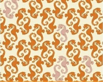 Heather Ross Mendocino for Windham Fabrics - Seahorses Orange on Cream