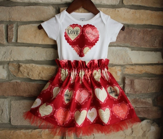 Valentine's Day Baby Girls Outfit Newborn, 3m,6m,9m,12m,18m,24m.Ready to ship.