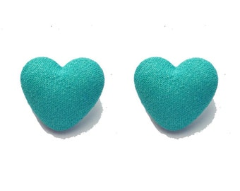 """SALE Handmade """"Teal Heart"""" Teal Fabric Covered Button Heart Shaped Earrings"""