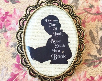"Handmade ""Nose Stuck in A Book"" Belle Beauty and the Beast Inspired Brooch with Bronze Setting Oval Cameo - Vintage Floral Print"
