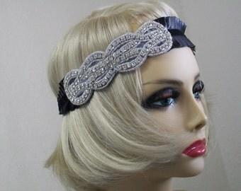 Black 1920s headband, Flapper headband, Gatsby headpiece, 1920s Hair, Rhinestone Flapper, Flapper headpiece, Gatsby dress, Vintage Inspired