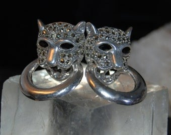 Vintage Marcasite Marquise Black Gemstone Eyed Clip On Roaring Big Cat Cat Earrings #BKC-KERNG75