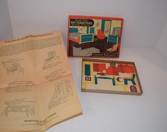 Vintage 1940 Built Rite Toy Furniture Set No. 77 Bedroom Room   Mint In