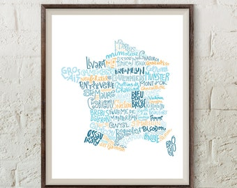 French cheese map kitchen print art for cooks bakery art french poster kitchen decor french art restaurant poster modern wall art