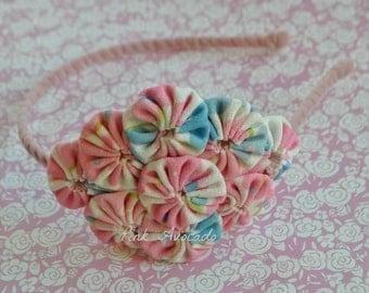 Handmade Pink and Blue Combo Yoyo Headband
