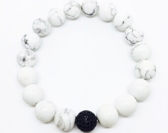 Howlite bead bracelet with silver ball