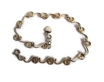 Vintage Sterling Swirl Heart Anklet Ankle Bracelet 9 Inches