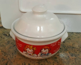 Campbell Soup Kids covered soup bowl - vintage soup bowl - covered bowl - Campbell Soup Kids dish - Campbell Soup Kids collectable dish