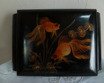 Black Laquered Jewelry box with mirror/Pink velvet interior/decorated with siamese fighting fish/gold fish
