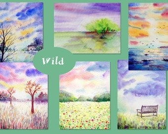 "Watercolour nature background ""Wild"" digital background (set5) instant download, meadow, park, birds and sunset background"