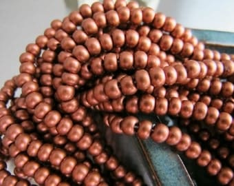 Deep Copper Seed Beads Metallic Rocailles Dark Copper Glass 10 Grams Beads Opaque Tone 4mm Pony E Size 6/0 Matte Seed Beads Frosted Metallic