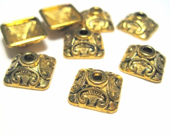 20pcs Antique Gold Square Bead Caps 10x4mm