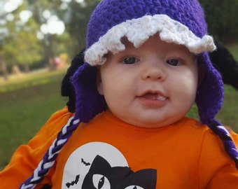 One-Eyed One-Horned Flying Purple People Eater Crochet Hat