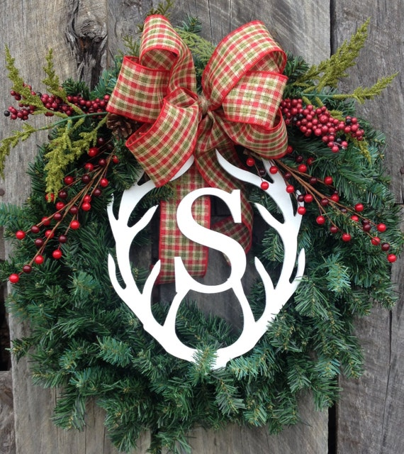 Items similar to rustic wreath winter wreath christmas for Antler christmas wreath