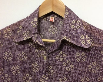 purple floral blouse 1970s lilac womens fashion blouse with a belt geometric