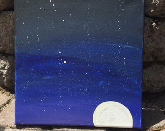 Rising/Setting Moon in a Deep Blue Sky on Canvas