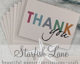 Thank You Cards Funky Pack/ 10 cards 105mm x 148mm (A5 when folded & 10 Envelopes)