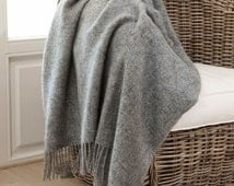 MADE IN EUROPE Wool throw, wool blanket, grey wool, 100% natural, not colored Pure New wool throw with fringes 140x240 'Boteh 15'