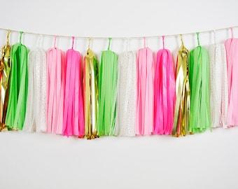 Pink Green Gold Tassel Garland,  Pink Green Garland, Bridal Shower, Afternoon Tea Party, Spring Wedding Decor, Bohemian Garland, Boho Banner