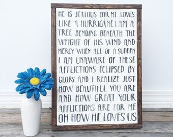 Framed Wood Sign, Oh How He Loves Us, He Is Jealous For Me, David Crowder Band, Rustic Home Decor, Song Lyrics, Christian Wall Art