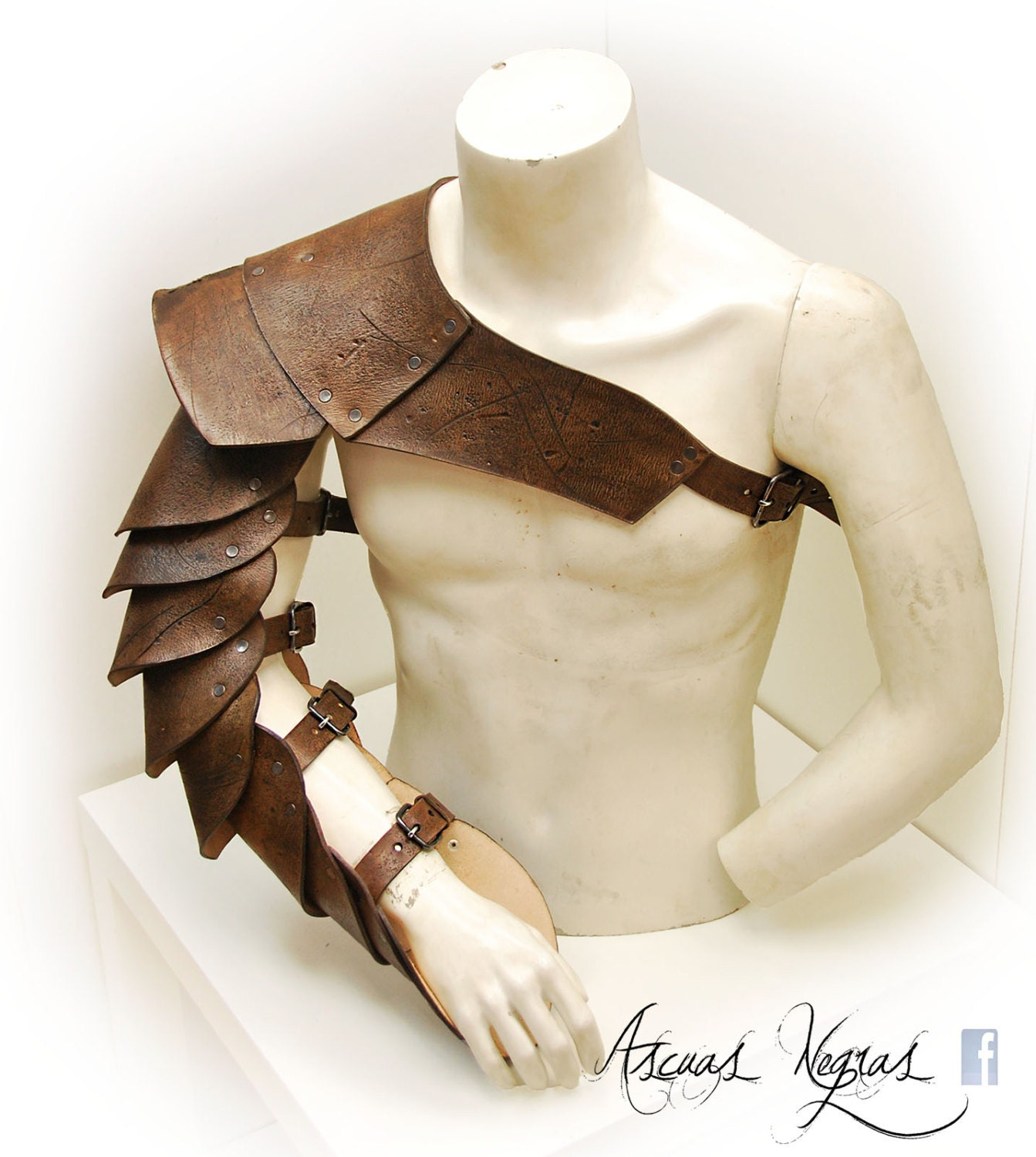 Gladiator Leather Shoulder Armor. Leather Manica. By