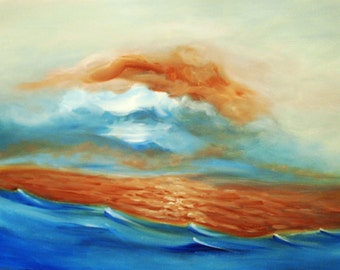 Sea Painting, Sky Painting, Sunset Painting, Acrylic on Canvas, Large Painting on Canvas, Wall Decor
