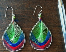 Wooven Earrings Bohemian 70's Hippie Era Vibrant Colors
