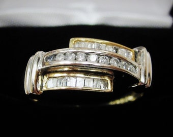 White & Yellow Gold Diamond Wedding Band Channel Ring Baguette Round Sz 7.25