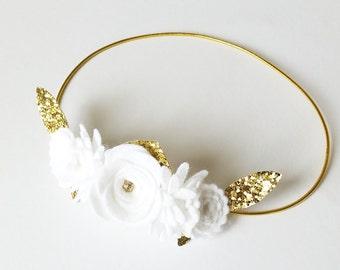 Baby Baptism Headband, White Christening Flower crown, Mini Flower Crown, Winter White Flower Crown, Baby Baptism Flower Hairband Crown Baby