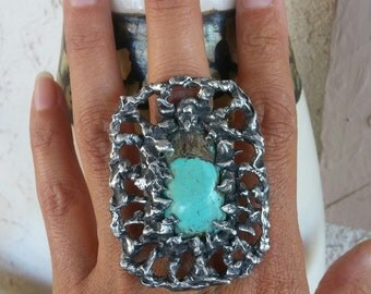 Statement Jewelry~Huge Turquoise Ring~One of A Kind